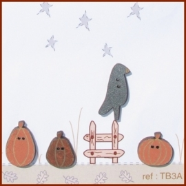 Crow Perched On Top Of Pumpkins - TB3A