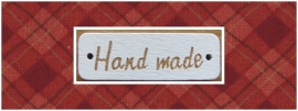 Houten label 'handmade' wit