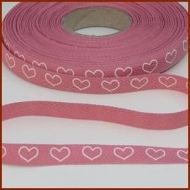 Bandje `hartjes roze'