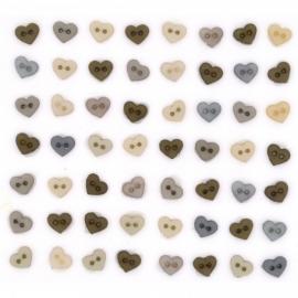 Micro Mini Hearts vintage linen 6 mm