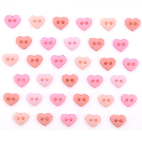 Micro Mini Round Hearts Rose 6 mm