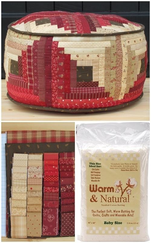 Patroon en materialenpakket 'Log Cabin poef''