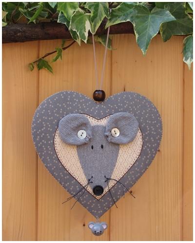 Patroon + materialenpakketje hanger hart 'Muis'