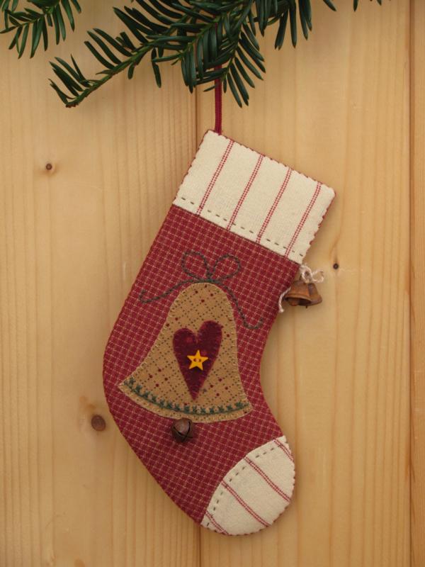 Patroon + materialenpakketje kerstsok 'Kerstklokje'