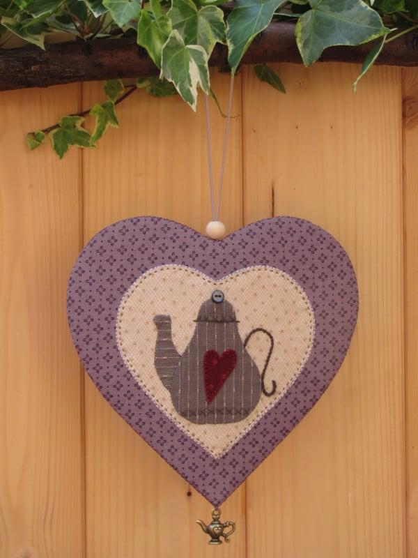 Patroon + materialenpakketje hanger hart 'Theepot'