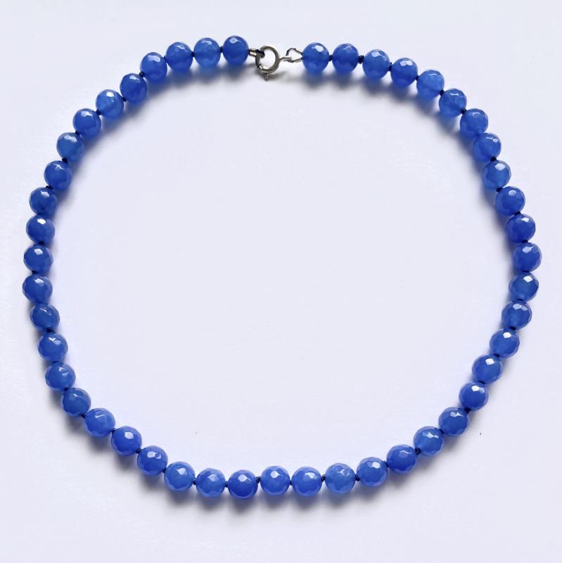 Chalcedoon snoer blauw 45 cm