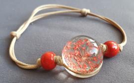 Armband droogbloem - rood