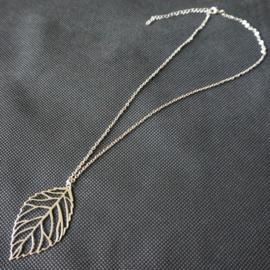 Ketting blad - zilverkleur
