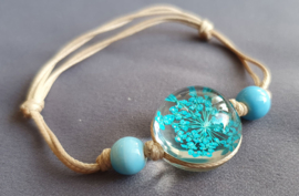 Armband droogbloem - lichtblauw