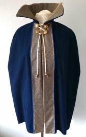 Donkerblauwe cape met kraag