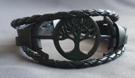 Lederlook armband - Levensboom