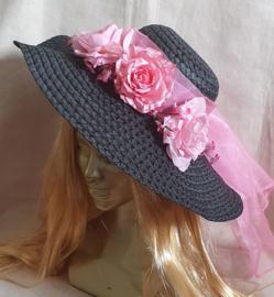 Bloemenhoed Zwart - Roze