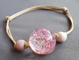 Armband droogbloem - roze