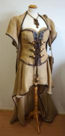Jute jurk met corset  -  7 delig