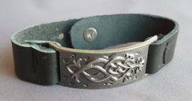 Lederlook armband - gunmetal