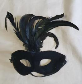 Zwart Masker met veren - elastiek