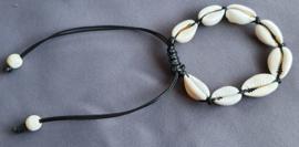 Armband schelpjes - zwart