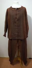 Bruin gevlamde set - shirt + broek