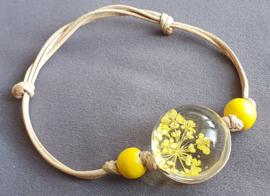 Armband droogbloem - geel