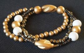 Armband Zwart / goud / wit