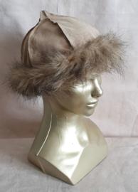 Leren / suede mutsen - fake fur