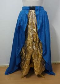 Broek / Overrok  - Blauwe reliefstof / gouden kreukelstof.