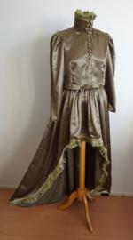Set blouse + Rok - Grijsgroen satijn