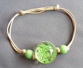 Armband droogbloem - groen