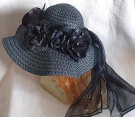 Bloemenhoed Zwart - Zwart