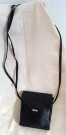 Zwart leren schoudertas