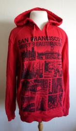 Rode hoodie met print - Mt. M/L