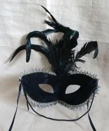 Zwart Masker met veren