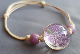 Armband droogbloem - lila