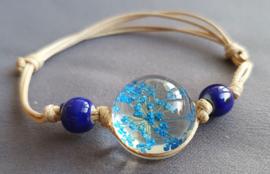 Armband droogbloem - donkerblauw