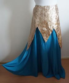 Rok  2 - Blauwe reliefstof / Goudkleurige krinkelstof