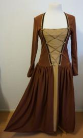 Bruine jurk met jas - 2 delig
