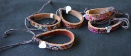 Leren armband met print