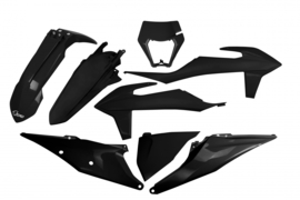 UFO Plastic Kit Zwarte kleur KTM EXC 250 TPI / EXC 300 TPI 2020-2021 & EXC-F 250/350/450/500 2020-2021