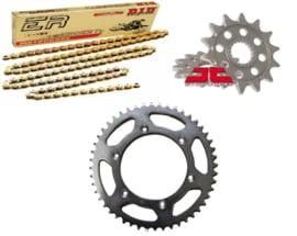 Ketting/Tandwiel kit bestaande uit JT voor en JT achter tandwiel ketting DID 520 ERT3 goud KTM 125-540 1991-2019 & Husqvarna 125-501 2014-2019