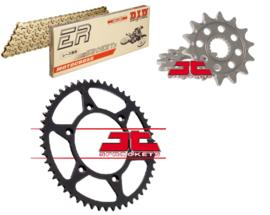 Ketting/Tandwiel kit bestaande uit JT voor en JT achter tandwiel ketting DID 520 ERT3 goud
