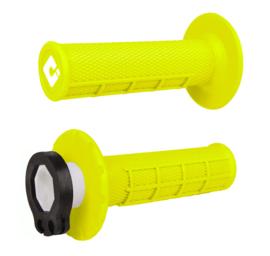 ODI MX V2 Half-Waffle lock-on handvaten fluor geel voor de 2 & 4 takten