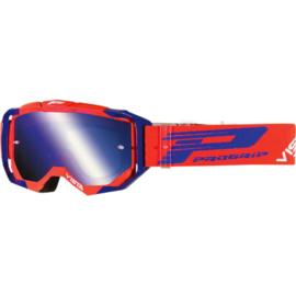 Progrip 3303 Vista crossbril rood/blauw met blauwe spiegellens