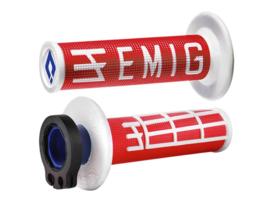 ODI V2 Emig Half-Waffle lock-on handvaten rood/wit voor de 2 & 4 takten