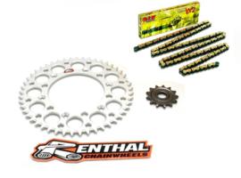 Ketting/Tandwiel kit bestaande uit Renthal voor en Renthal achter tandwiel aluminium ketting DID 520 VX2 goud