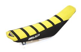 Bud zadelovertrek geel/zwart met zwarte lijnen voor de Suzuki RM 85 2002-2017