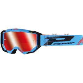 Progrip 3303 Vista crossbril turquoise/zwart met rode spiegellens