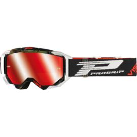 Progrip 3303 Vista crossbril zwart/wit met rode spiegellens