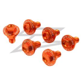 Zeta voorvork beschermers bouten oranje KTM SX 50 2012-2018 & SX 65 2002-2018 & SX 85 2003-2018 & SX/SX-F/EXC/EXC-F 125/530 2000-2018
