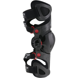 Alpinestars Kniebraces Fluid Tech Carbon antraciet/rood/wit (links)