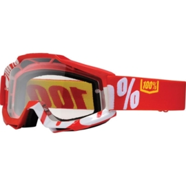 100% accuri crossbril Fire Red rood/wit - clear lens